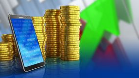 3d of coins stack. 3d illustration of coins stack over arrows graph background with mobile phone Royalty Free Stock Image