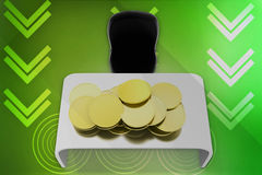 3d coins on table illustration Stock Image