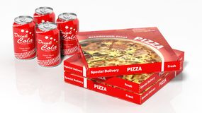 3D cola cans and pizza boxes. On white Stock Photos