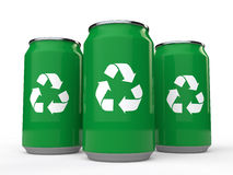 3d cold drink cans with recycle symbol. 3d render of cold drink cans with recycle symbol Royalty Free Stock Images