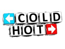 3D Cold Hot Button Click Here Block Text. Over white background Royalty Free Stock Image