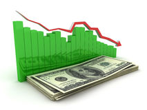 3d. Collapse dollar chart Stock Images