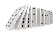 3d Collapsing chain of dominoes Royalty Free Stock Photos