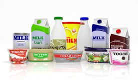 3D collection of dairy products. Isolated on white background Royalty Free Stock Image