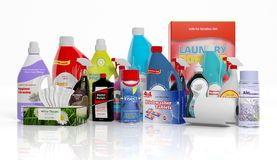 3D collection of household cleaning products Stock Photos