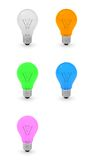3D Collection of Light Bulbs Stock Photography