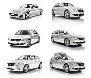 3D Collection of Luxury Silver Sports Car Stock Image