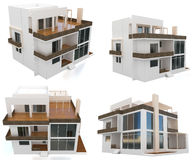 3d collection modern house royalty free illustration