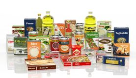 3D collection of packaged food Royalty Free Stock Images