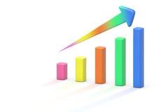 3d color Bar Chart. 3d color arrow Bar Chart Upwards statistics Success Stock Images