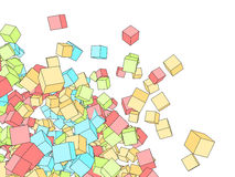 3D color cubes sketch. Style drawing background with white copy space Royalty Free Stock Photography
