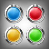 3D color buttons in metal frames. 3D color glossy buttons in chrome metal frames, design elements, set of vector icons, isolated on gray. Can be used as web royalty free illustration