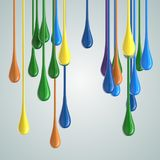 3D color glossy paint drop blobs. 3D rendering Stock Images