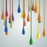 3D color glossy paint drop blobs Royalty Free Stock Photography
