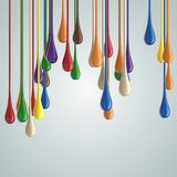 3D color glossy paint drop blobs Stock Photo