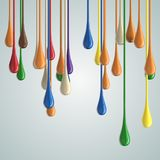 3D color glossy paint drop blobs. On white. 3D rendering Stock Photography