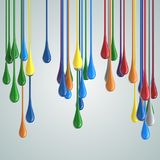 3D color glossy paint drop blobs. 3D rendering Stock Photography