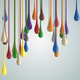 3D color glossy paint drop blobs Stock Images