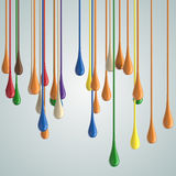 3D color glossy paint drop blobs Stock Photos