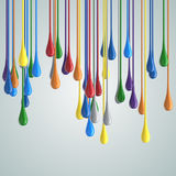 3D color glossy paint drop blobs. 3D rendering Royalty Free Stock Photo