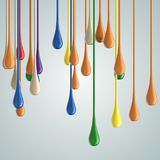 3D color glossy paint drop blobs. On white. 3D rendering Royalty Free Stock Image