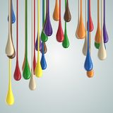 3D color glossy paint drop blobs. On white. 3D rendering Stock Images