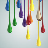 3D color glossy paint drop blobs. On white. 3D rendering Stock Image