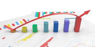3d color positive bar Graphs. 3d color graph with positive growth arrow Stock Photography