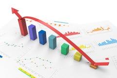 3d color positive bar Graphs. 3d color graph with positive growth arrow Stock Photos