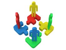 3d color puzzle and people on white. Background. Business, teamwork, assembling concept Royalty Free Stock Images