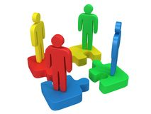3d color puzzle and people on white. Background. Business, teamwork, assembling concept Stock Image