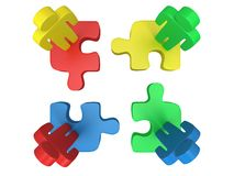 3d color puzzle and people on white. Background. Business, teamwork, assembling concept Stock Photography