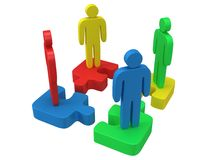 3d color puzzle and people on white. Background. Business, teamwork, assembling concept Royalty Free Stock Photography