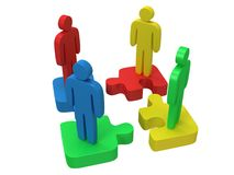 3d color puzzle and people on white. Background. Business, teamwork, assembling concept Royalty Free Stock Photos