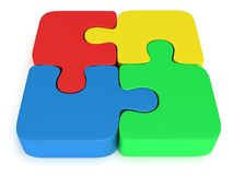 3d color puzzle on white Stock Images
