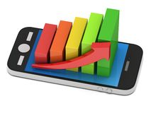 3d colored bar graph with red arrow on smartphone Stock Photo