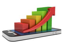 3d colored bar graph with red arrow on smartphone. 3d colored bar graph with red arrow growing up on smartphone. Mobile apps concept. 3D render isolated on white Stock Images
