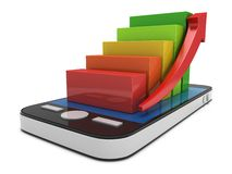 3d colored bar graph with red arrow on smartphone Stock Images
