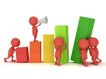 3D colored bar graph with team of red people Royalty Free Stock Photo