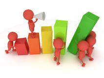 3D colored bar graph with team of red people Royalty Free Stock Photos