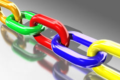 3d colored chains Stock Photography
