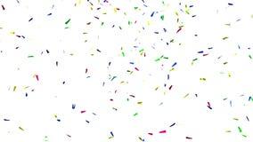 3D Colored Confetti on White, alpha matte stock video