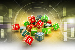3D Colored Cube Alphabet. In color background Stock Images