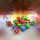 3D Colored Cube of RGB Alphabet. In color background Stock Image