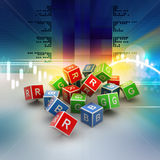 3D Colored Cube of RGB Alphabet. In color background Royalty Free Stock Photos