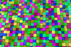 3d colored cubes background, color mosaic. Stock Image