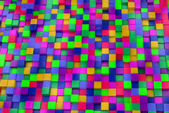 3d colored cubes background, color mosaic. Royalty Free Stock Image