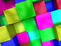 3d colored cubes background, color mosaic. 3d colored cubes background, color mosaic Stock Image