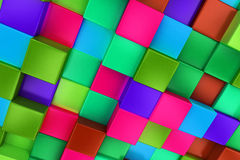 3d colored cubes background, color mosaic. Royalty Free Stock Images