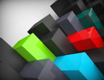 3d colored cubes background. Concept design Stock Images